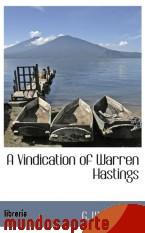 Portada de A VINDICATION OF WARREN HASTINGS