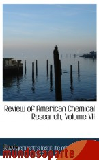 Portada de REVIEW OF AMERICAN CHEMICAL RESEARCH, VOLUME VII