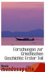 Portada de FORSCHUNGEN ZUR GRIECHISCHEN GESCHICHTE: ERSTER TEIL
