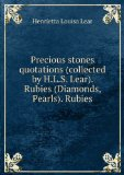 Portada de PRECIOUS STONES QUOTATIONS (COLLECTED BY H.L.S. LEAR). RUBIES (DIAMONDS, PEARLS). RUBIES