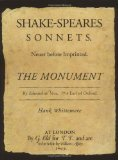 """Portada de THE MONUMENT: """"SHAKE-SPEARES SONNETS"""" BY EDWARD DE VERE, 17TH EARL OF OXFORD BY HANK WHITTEMORE (2005) HARDCOVER"""