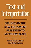 Portada de [(TEXT AND INTERPRETATION : STUDIES IN THE NEW TESTAMENT PRESENTED TO MATTHEW BLACK)] [BY (AUTHOR) ROBERT MCLACHLAN WILSON ] PUBLISHED ON (JUNE, 2009)