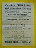 Portada de FOLLETO PUBLICIDAD - BROUCHURE ADVERTISING : CELEBRE MISERERE DEL MAESTRO ESLAVA Y SAETAS